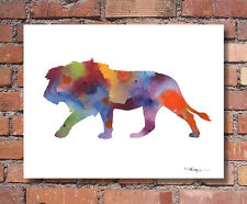 Lion Abstract Watercolor Wildlife Painting Art Print by DJR