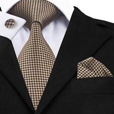 FA-833 New Classic Brown Plaids Checks Jacquard Silk Necktie Set For Mens Hi-Tie