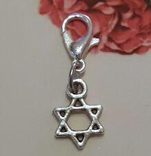 "Mini Jewish Star of David 6 Point  Israeli Silver Dangle Clip Charm pendant .5"""