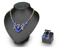 Multicolor Rhinestone Statement Necklace Earrings Women Wedding Gold Jewelry Set