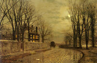 Beautiful oil painting John Atkinson - Sunset landscape carriage Hand painted