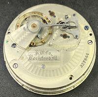 Rockford Grade 83 Pocket Watch Movement 18s 15j Hunter Model 8 Ticking F5157