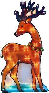 Large Window DEER Warm White 20 LED Christmas Light up Sign Xmas Decoration B/O