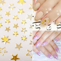 3D Nail Stickers Rose Gold Silver Star Series Nail Art Transfer Decals Tips DIY