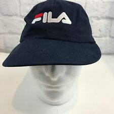Vtg FILA Black Snapback baseball Cap Hat Black One Size Fits All made in USA