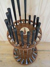 Golf club display rack.ROTATING, Personalized. 16 clubs. Oak wood. Made In USA.