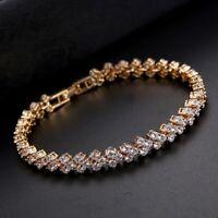 Womens Crystal Bracelet Bangle Heart Rose Gold Plated New Shine Bargain Women's