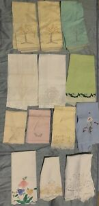 13 Vintage Madeira Linen Organza Hand Embroidery Appliqué Fingertip Guest Towels