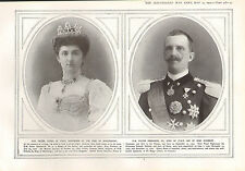 1915 WWI PRINT ~ H.M KING & QUEEN OF ITALY HELEN & VICTOR EMMANUEL III