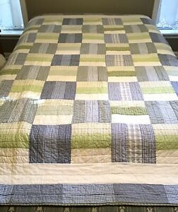 Pottery Barn Kids PBK Chambray Blue Green Plaid Patchwork Reversible Twin Quilt