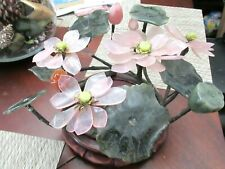 LARGE GREEN JADE PENNYWORT AND ROSE QUARTZ BLOSSOM FRUIT BONSAI TREE WOOD STAND