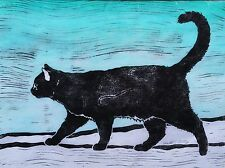 Black Cat on White and Blue Original Linocut Signed Limited Edition by Grey Pet