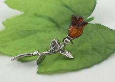 Br0087 Ladies Solid 925 Sterling Silver Real Baltic Amber Rose Design Brooch