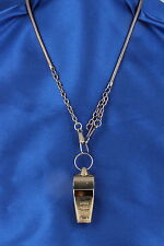 TAIWAN BRASS H.W.C. WHISTLE PENDANT CHAIN NECKLACE COSTUME SIGNED 4559
