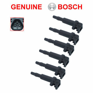 NEW BMW Ignition Coil 6 Pack Updated W/ Connector Boot Genuine Bosch 0221504470