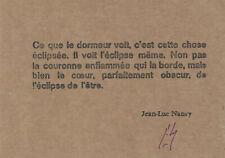 Jean-Luc Nancy : Carte typographique signée, Atelier Marie-Sol Parant