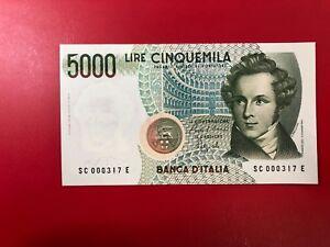 Repubblica Italiana 5000 lire Bellini 10-09-1992 Lettera C  FDS NUMERI BASSI