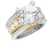 Ladies 14K Two Tone Gold Genuine Diamond Semi Mount Engagement Ring 4.90CT 12MM