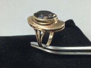 10K Yellow Gold Women's Ring With Oval Smoky Topaz 4 Carat Gemstone Size 4.5