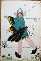 Hand-Painted/Artist-Signed 1930 Art Deco Postcard: Dutch Woman - Original Art