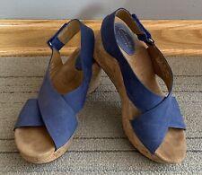 feb8b4be5b3 CLARKS Artisan Caslynn Shae Blue Nubuck Wedge Platform Sandals Women s Size  8M