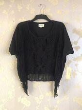 Denim Supply Ralph Lauren Women's Black Fringe Knit Top Size:M BNWT