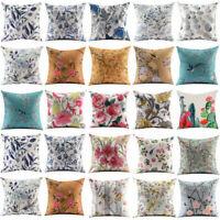 Flower Bird Pillow Cover Throw Pillow Case Sofa Cushion Cover Home Decor 18''