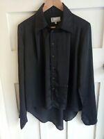 Bettina Liano Black Silky Button Up Collar Women's Long Sleeve Blouse Size 14