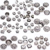 Wholesale 25/50Pcs Tibetan Silver Floral Various Bead Caps Jewelry Findings DIY