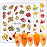 5 Sheets Fall Leaves Nail Art Water Decals Maple Leaf Transfer Stickers Decors
