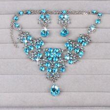 Bridal Rhinestone Butterfly Water Drop Earrings Jewelry Set Necklace Pendant