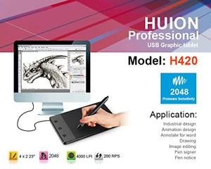 HUION H420 USB Paper Notepad Tablet Pen Art Drawing Pad Digital Graphics + Case