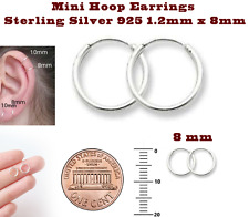 Mini Hoop Earrings Sterling Silver 925 1.2mm x 8mm One Pair Set Super Small
