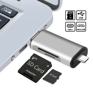 SD Micro SD Card Reader Adapter to USB Type C/Micro USB/USB A 3.0 OTG 3-in-1 F8