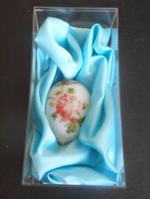 """circa 1900 Victorian Easter Milk Glass 3.5"""" Egg with Satin + Lucite Display Box"""