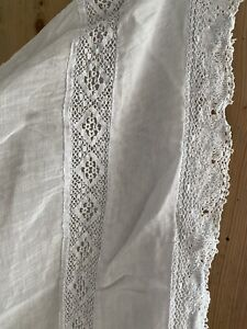 Antique French BABY cradle CANOPY BED LINON GAUZE lace ENTREDEUX c1900