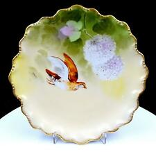"""CORONET LIMOGES FRANCE T BARIN SIGNED BROWN QUAIL 9 1/2"""" CABINET PLATE 1906-1920"""