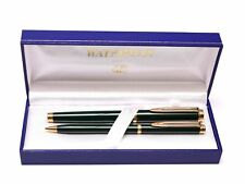 WATERMAN Gentleman Dark Olive Green Lacquer & Gold Rollerball Pen & Pencil Set
