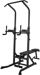 Gym Multifunction Power Tower Pull Up Dip Station Home Equipment w/ Weight Bench