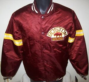 BOSTON BRUINS NHL STARTER Satin Jacket Traditional SMALL LARGE MAROON