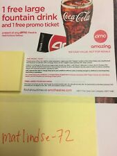 (2) AMC MOVIE E THEATER TICKETS, (1) large popcorn and (3) fountain drinks