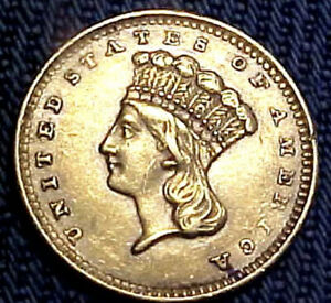 American 1856 $1 ONE DOLLAR U.S. GOLD Coin In Nice Condition.
