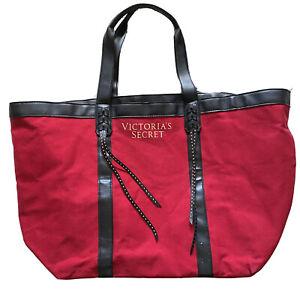 Victoria's Secret VS Weekender Overnight Tote Bag Red Black Tassle Bling