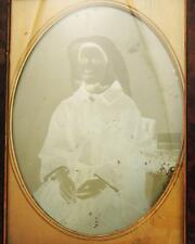 HALF PLATE VICTORIAN DAGUERREOTYPE WOMAN WITH ROSARY BEADS c1840's