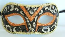 Venetian Face Masquerade Mask With Ribbon Tie On - Orange Bronze Silver & Gold
