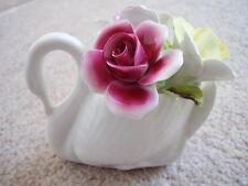 Royal Stratford England porcelain Swan-vase with flowers figure-ornament