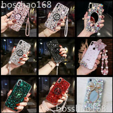 Bling Crystals Diamonds Holder Stand back soft Case Cover For HTC Phones & strap