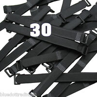 "30 Pcs Black Cable Ties 8"" 20cm Wire Straps Wrap Reusable Hook and & Loop Cords"