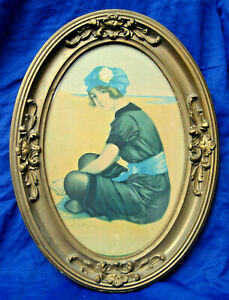 Hamilton King (1871-1941) Oval Framed Lithograph of Bathing Beauty c. 1914