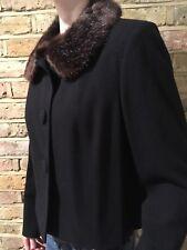 L K BENNETT Black Jacket Blazer With Faux Fur Collar 100% Wool UK 12 Made In UK